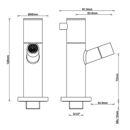 Wiesbaden Amador toiletkraan muurbevestiging 1/2''mat-zwart