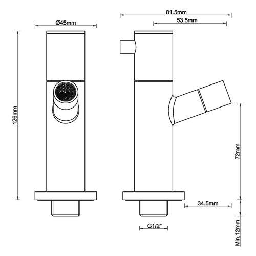 Wiesbaden Amador toiletkraan muurbevestiging 1/2''geborsteld messing