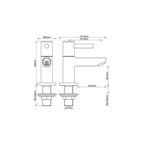 Wiesbaden Amador toiletkraan 1/2'' geborsteld koper