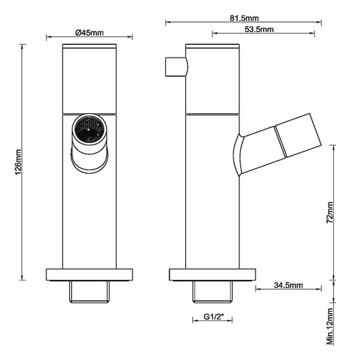 Wiesbaden Amador toiletkraan muurbevestiging 1/2''geborsteld koper