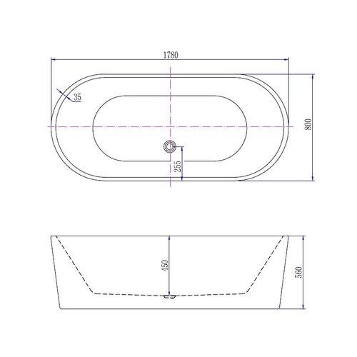 Best Design Becoma Mat-Wit vrijstaand bad 178x80x55cm