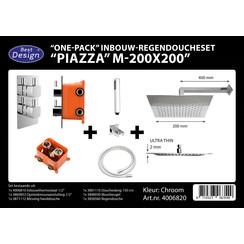 One pack inbouw-regendoucheset & Inb.box Piazza vierkant M-200x200