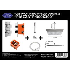One pack inbouw-regendoucheset & Inb.box  Piazza vierkant P-300x300