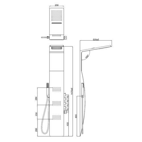 Best Design Berdorf douchepaneel aluminium mat-zwart 1470x2030 mm