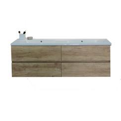 Makalu badkamermeubel 150x46cm natura met 4 softclosing laden zonder kraangaten