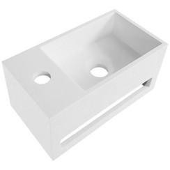 Solid Surface wastafel wit handdoekhouder met kraangat Links 35,8X20,5X15,7cm