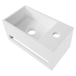 Solid Surface wastafel wit handdoekhouder met kraangat Rechts 35,8X20,5X15,7cm
