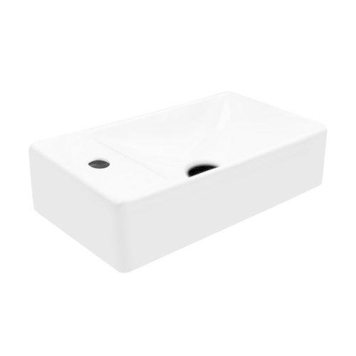 Creavit Aloni keramische Fontein wastafel wit met kraangat Links
