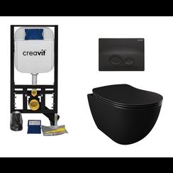 Complete toiletset mat zwart