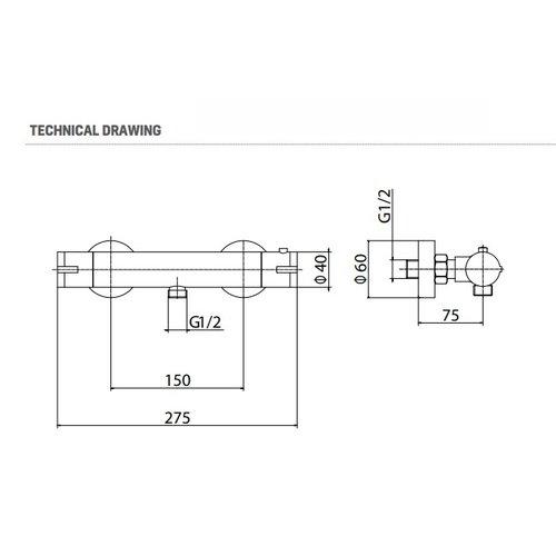 Creavit Aloni mat zwart design thermostatische douchekraan