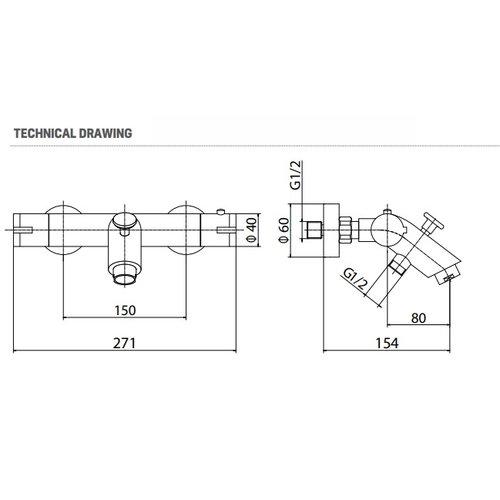 Creavit Aloni mat zwart design thermostatische bad/douchekraan