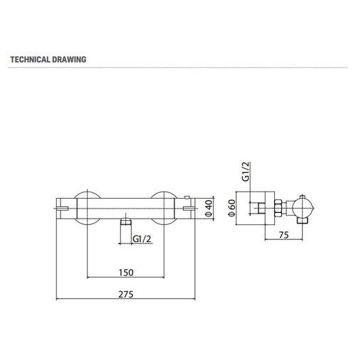 Creavit Aloni design thermostatische douchekraan