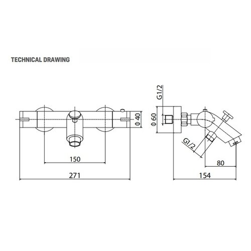 Creavit Aloni design thermostatische bad/douchekraan