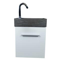 Nimba toiletmeubel 40x22cm hoogglans wit met hardstenen wasbak links