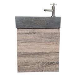 Nimba toiletmeubel 40x22cm cottage oak met hardstenen wasbak rechts