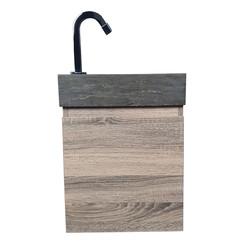 Nimba toiletmeubel 40x22cm cottage oak met hardstenen wasbak links