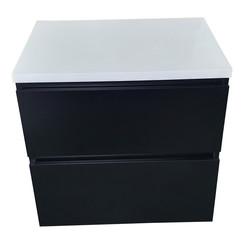 Kalua badmeubel 60x46cm mat zwart met topblad hoogglans wit