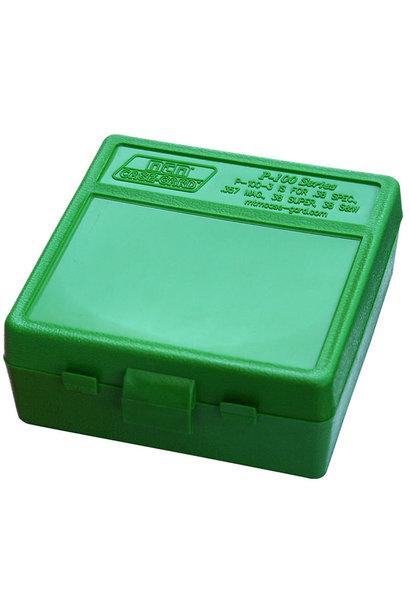 MTM Case Gard Ammo Box 100 Round Flip-Top 38 - 357 Green