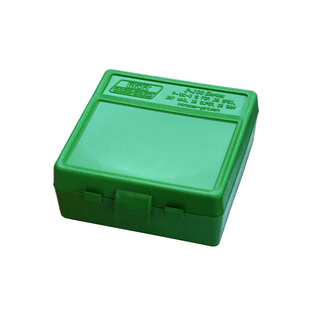MTM Case Gard Ammo Box 100 Round Flip-Top 38 - 357 Green-1