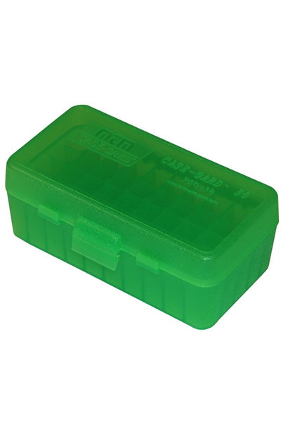 MTM Case Gard Ammo Box 50 Round Flip-Top 38 - 357 Clr-Green