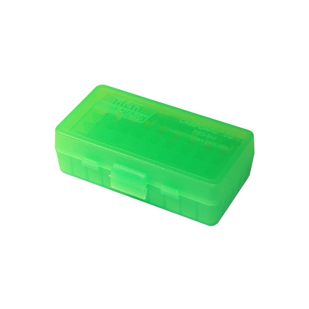 MTM Case Gard Ammo Box 50 Round Flip-Top 9mm 380 ACP Green-1
