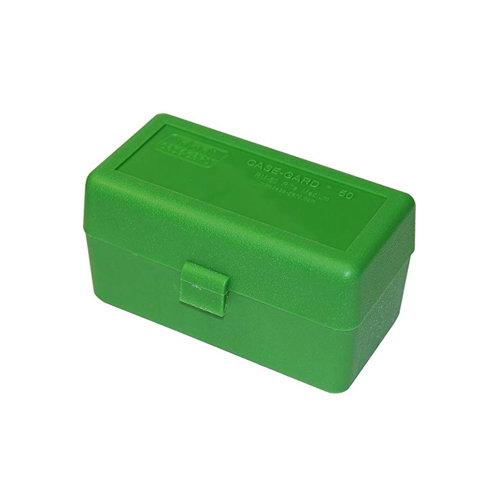 MTM Case Gard Ammo Box 50 Round Flip-Top 243 308 Win 220 Swift Green-1