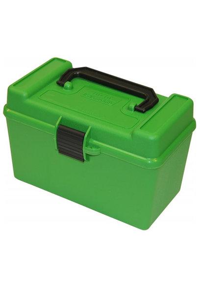 MTM Case-Gard Ammo Case Deluxe - 50 Round Handle Green 22-250 / 243 / 308