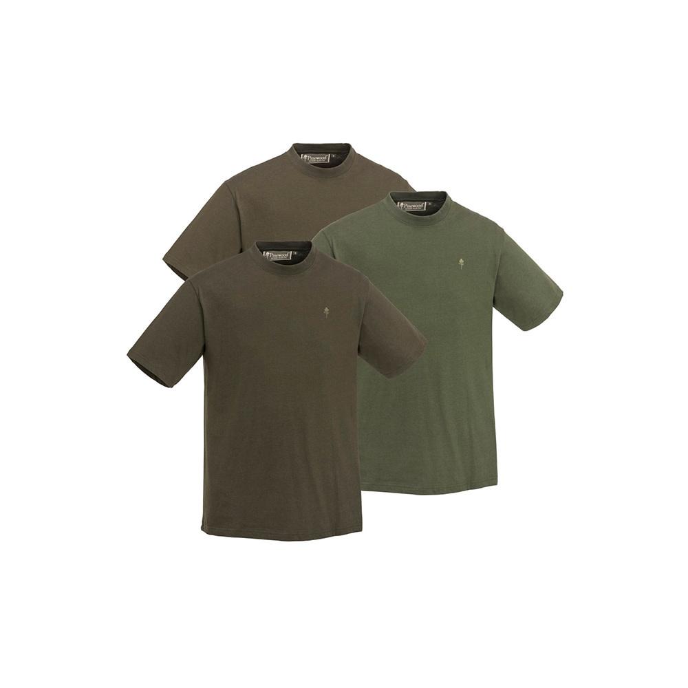 Pinewood T-Shirt 3-Pack Green/Hunting Brown/Khaki-1
