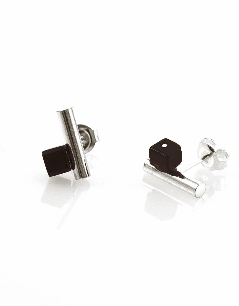 Post earrings cylinder & cube