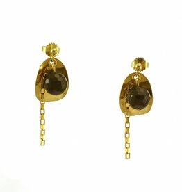 Post earrings pendant ellipse