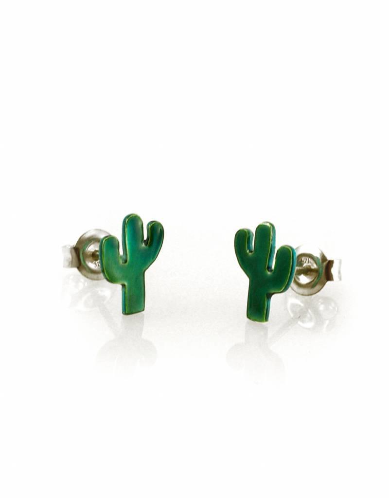 Oorstekers cactus - transparant teal