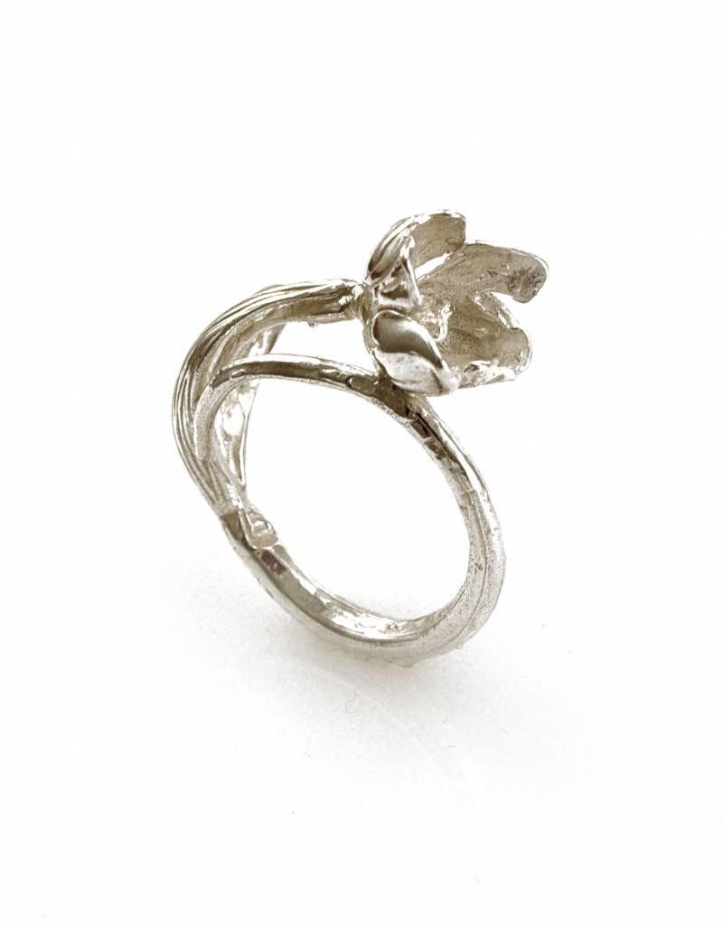 Ring ijsbloem - zilver