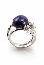 Ring 3 bloemen & cabochon - zilver
