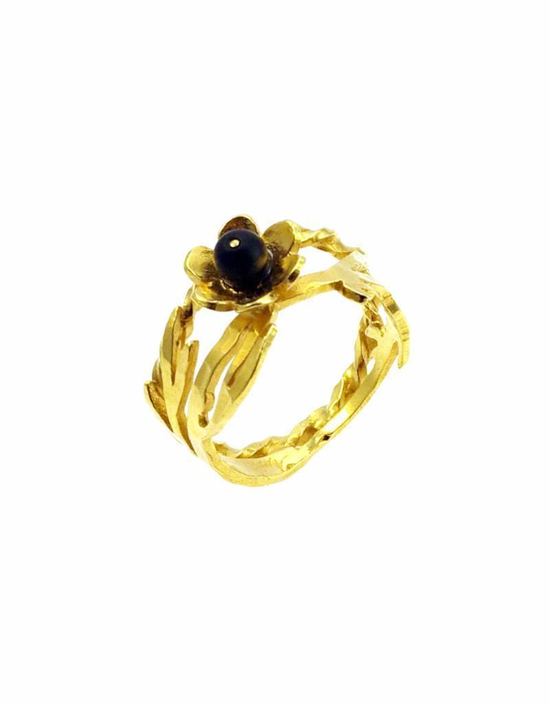 Rebels & Icons Ring bloem & bamboe - goud
