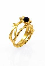 Ring bloem & bamboe - goud