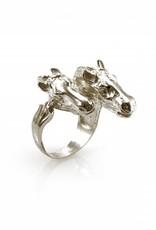 Ring 2 paarden - zilver