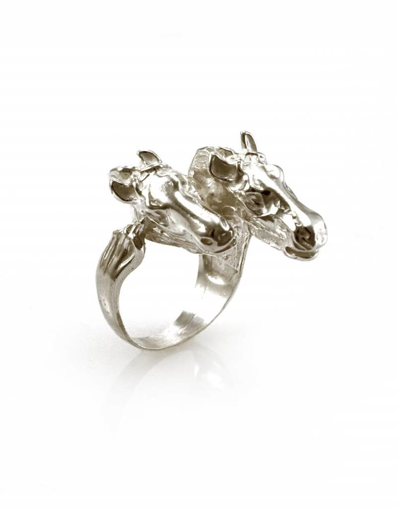 Rebels & Icons Ring 2 paarden - zilver
