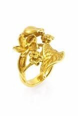 Rebels & Icons Ring frog & leaf - gold