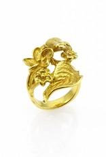 Ring kikker & blad - goud