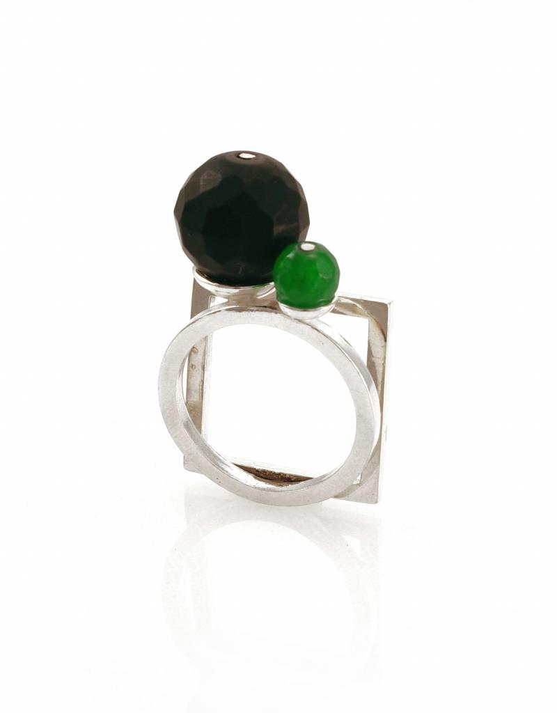 Rebels & Icons Ring square & circle - silver
