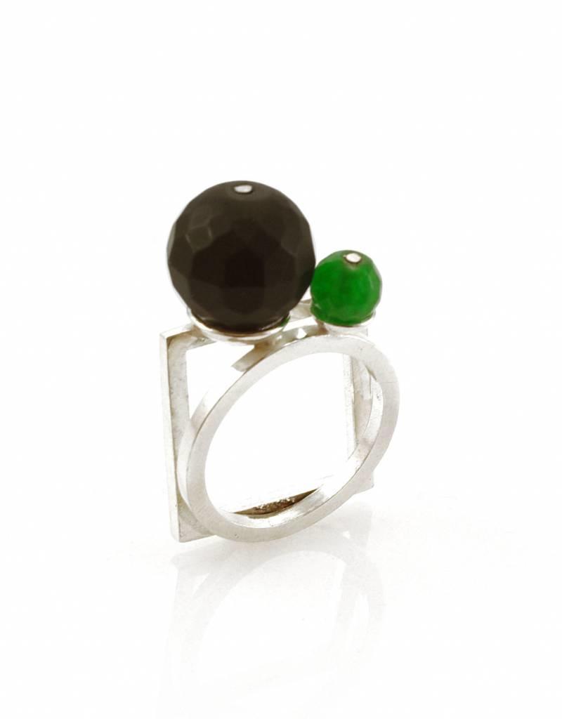 Ring vierkant & cirkel - zilver