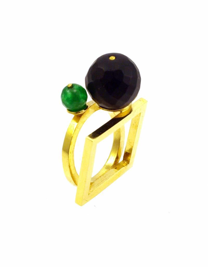 Ring vierkant & cirkel - goud