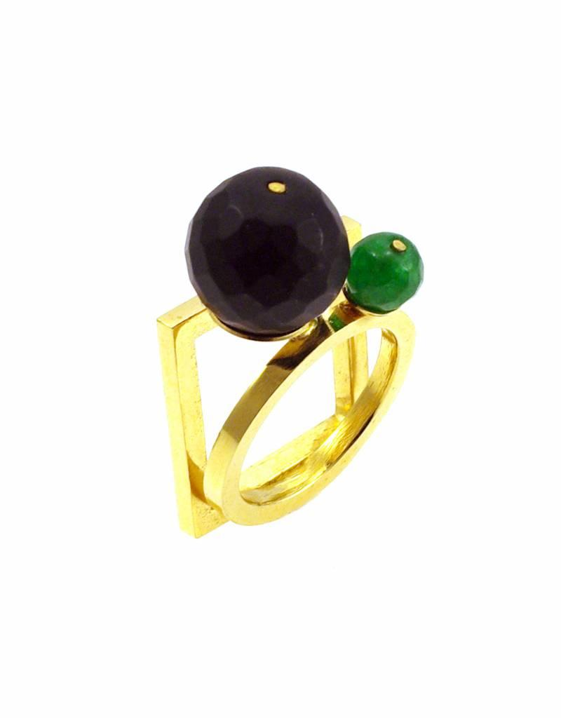 Rebels & Icons Ring vierkant & cirkel - goud