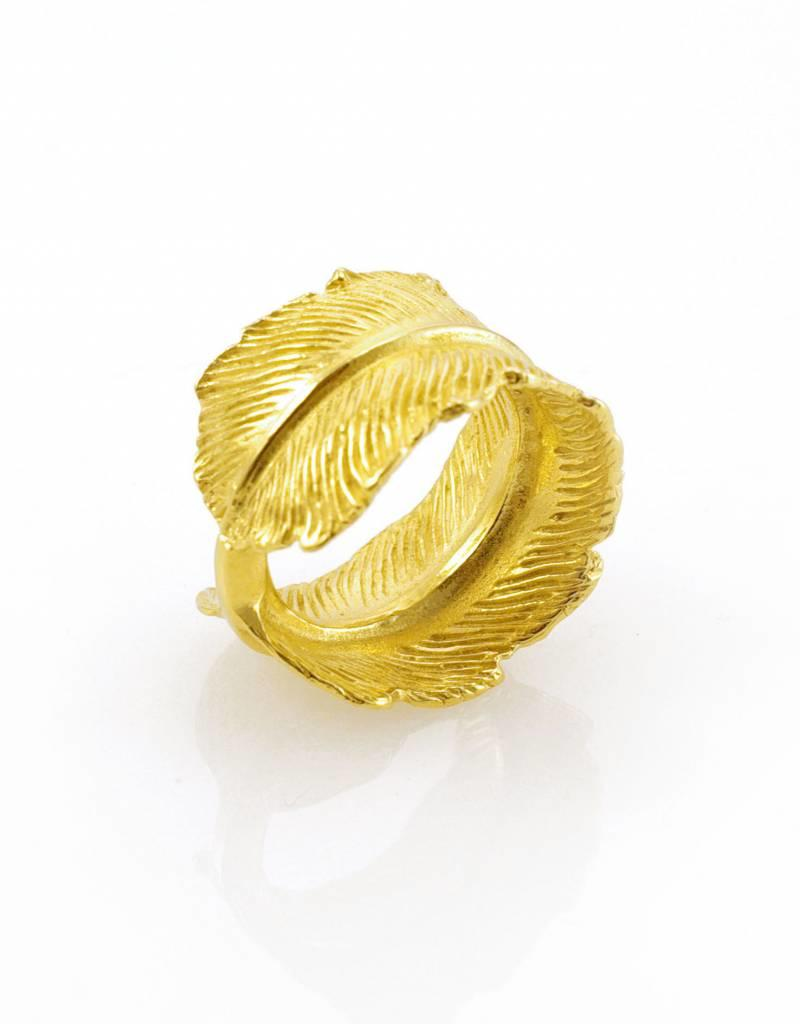 Rebels & Icons Ring pluim - goud