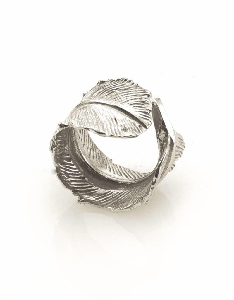 Ring pluim - zilver