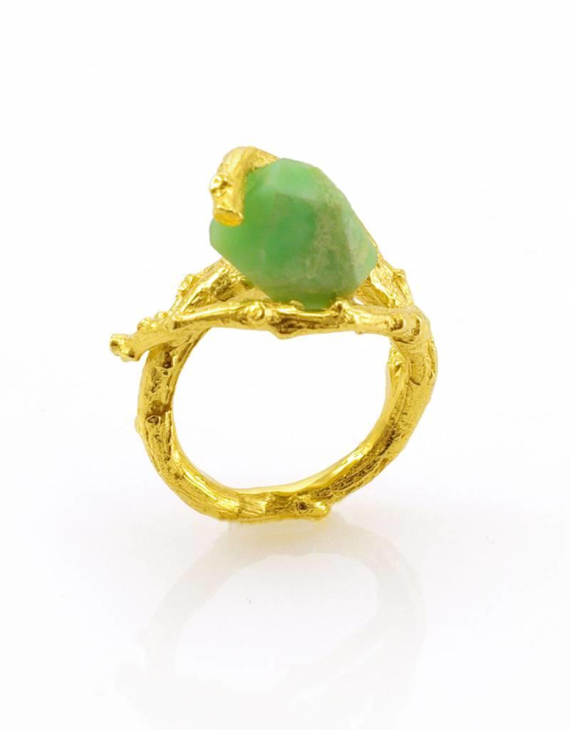 Ring branch & chrysoprase - gold