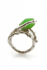 Ring tak & chrysopraas - zilver