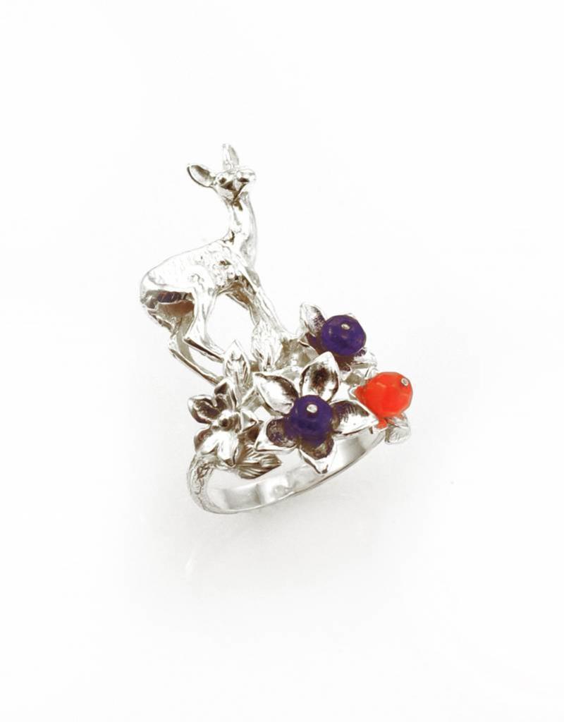 Ring hinde & bloemen - zilver