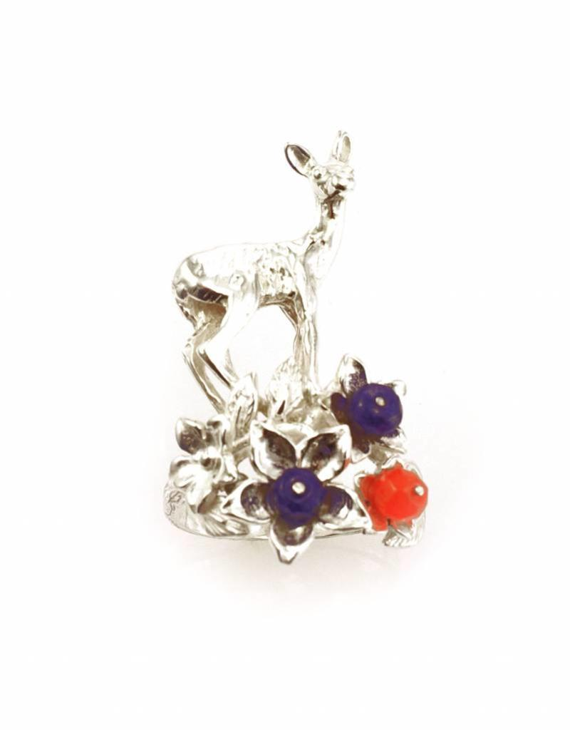 Rebels & Icons Ring hind & flowers - silver
