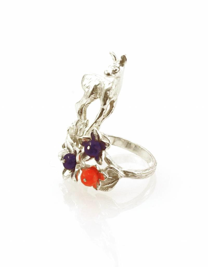 Rebels & Icons Ring hinde & bloemen - zilver